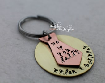 Personalized Keychain for Dad - Hand Stamped Key Chain - Stamped Custom keychain - Tie Keychain - Name Keychain - Gift for Dad