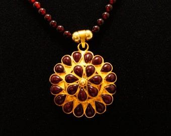Garnet, Matte Gold Plating, & Ombre Beads