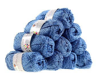 10 x 50g knitting yarn wool cotton Symbiosis #87 light blue