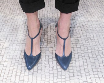 SALES Blue leather pointy t strap pump, Blue leather shoes, Women pointy pumps, Women pointy shoes, Black Leather shoes for women, Lafayette