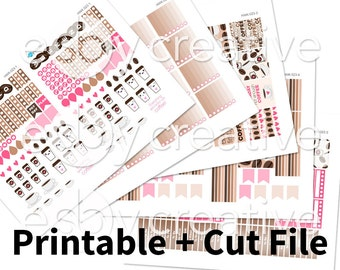 Coffee Theme - Weekly Sticker Kit Printable for Erin Condren Horizontal - HWK-023 - INSTANT DOWNLOAD