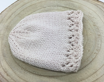 Hand Knitted Lace Baby Bonnet | Cotton Merino | Newborn Baby Toddler | Photography Heirloom | Choose Shade