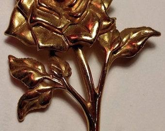 Big Sale 1950s Huge Large Art Deco Rose Flower Gold Tone Brooch Pin Vintage Steampunk Pinup Burlesque