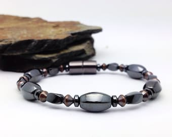 Magnetic BRACELET Therapeutic Solid Copper & Black Black Hematite Super High Power Wellness Health FREE gift card