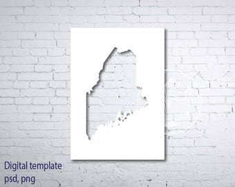 Digital Maine state map template, Maine psd, png template, Maine transparent layer Photoshop template, Maine diy photo card, Maine wedding