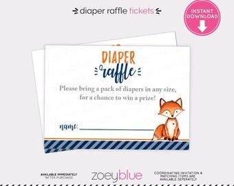 Fox Diaper Raffle Ticket - Boy Baby Shower Printable Little Fox Diaper Raffle Ticket - Baby Sprinkle Invitation Insert - Woodland Shower