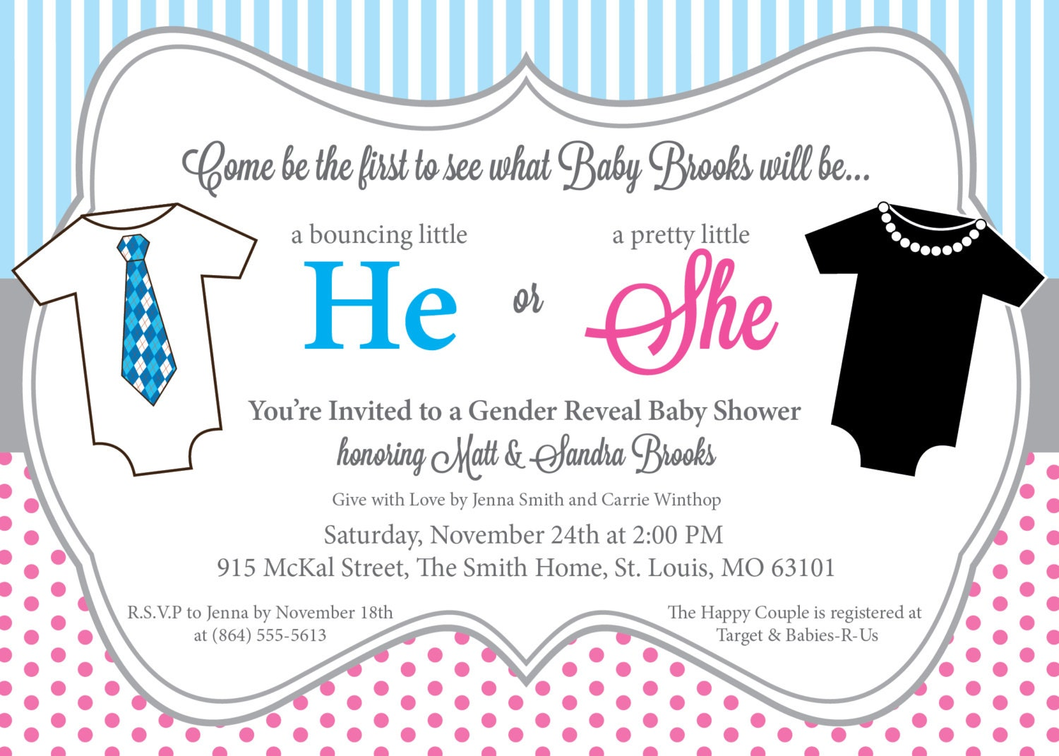 He or She Gender Reveal Baby Shower Invitation Printable