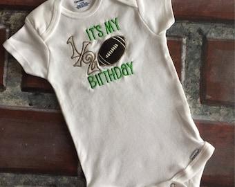 Half birthday football outfit/6 month birthday celebration suit/Little boy half birthday body suit