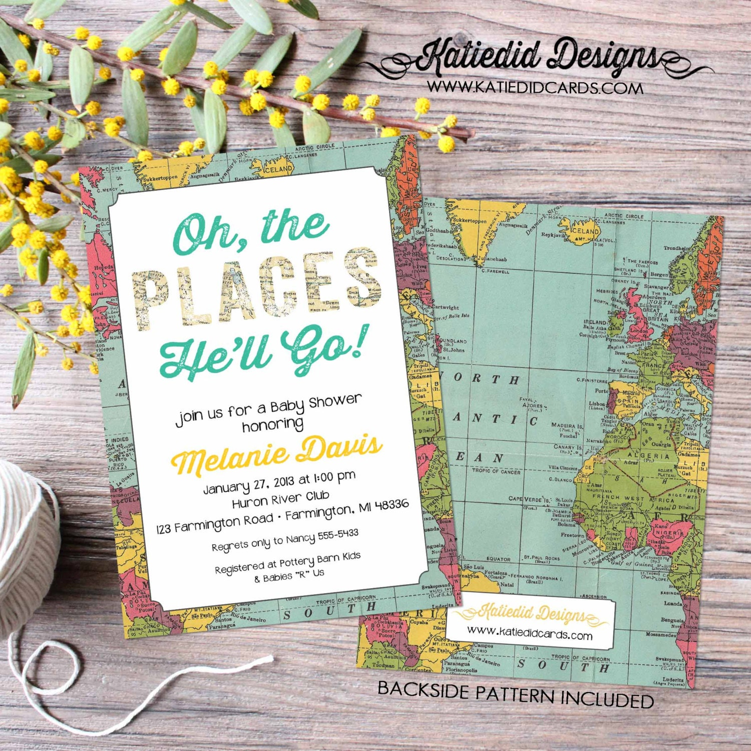 Adventure awaits baby shower invitation Oh the places