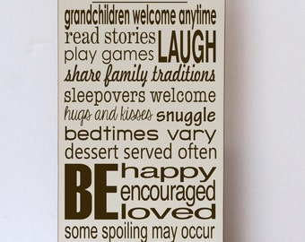 Grandparent Rules, Grandparents House Rules, Wood Sign, Gifts for Grandparents, Grandparent Sign, Grandparent Gift, Nana and Papa Sign,