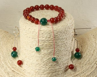 Set bracelet and tinted ear green agate and carnelian earrings