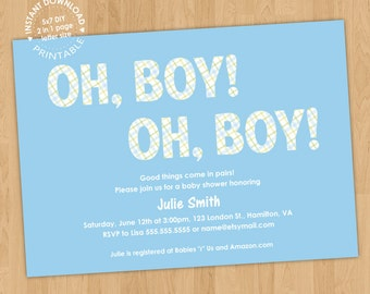 Twin Boys Baby Shower Invitation Digital Printable PDF template, instant download, edit with Adobe Reader DIY