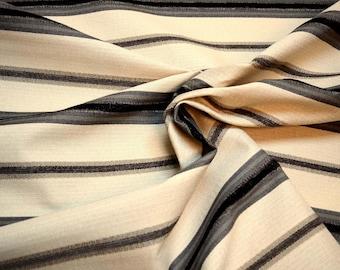 Black Grey Ivory Horizontal Striped Upholstery Fabric