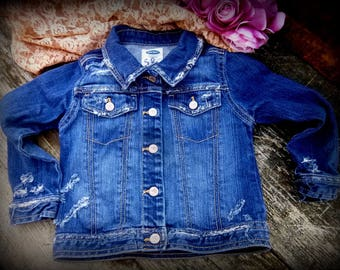 Kids Jean Jacket, Destroyed, Torn, Frayed, Kids Pants, Blue Jeans