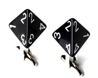 Customizable Triangle Dice Cufflinks - Choose Your Color