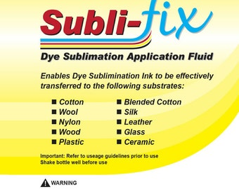 250ml Subli fix fluid works on 100% cotton and more.... for dye sublimation printing plus FREE dye sublimation paper to try