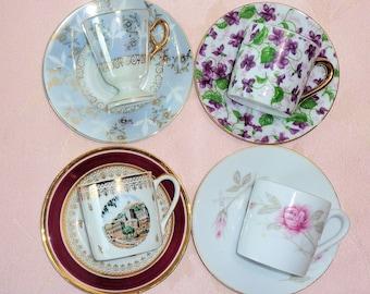 Mismatched Demitasse Cup & Saucer 4 Sets China Porcelain France Japan Espresso Turkish Coffee