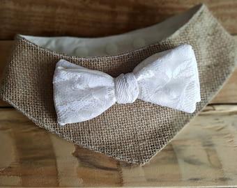 Dog wedding bandana, burlap bandana,  Dog costume, Lace Dog bow tie, Dog Outfit, Rustic Dog Bandana Collar, Dog Wedding Attire, Dog tuxedo