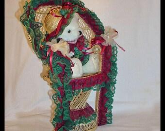 Teddy Bear in Peacock Fan Wicker Chair