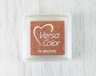 VersaColor Pigment Ink Pad Small in Bronze - Christmas Ink Pad - Metallic Ink Pad - Bronze Copper Stamp Pad