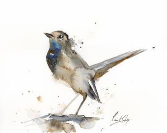Nightingale Bird ORIGINAL Watercolor Painting, Watercolour Art, Bird Painting, Painting of nightingale bird