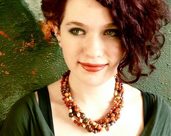 Queen of Sheba -- 5-strand Statement Earthtone Choker in Apple Coral, Wood, Seeds and Glass