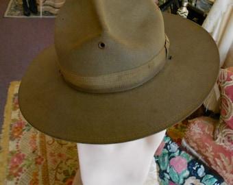 1914 era, size 22, dough boy khaki beaver felt hat