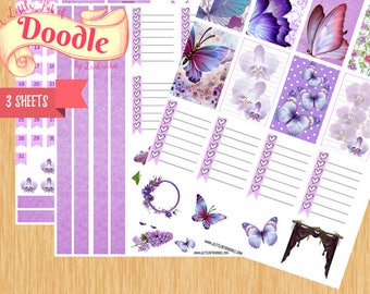Lavender Butterfly Delight Stickers|Big Happy Planner Stickers|Happy Planner Stickers|Create365 Stickers|MAMBI Stickers