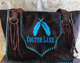 custom name embroidered feather cowhide bag