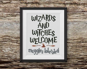 BOGO FREE! Harry Potter Cross Stitch Pattern, Wizards and Witches Welcome xStitch, Hogwarts Quote Modern Decor, PDF Instant Download #016-12