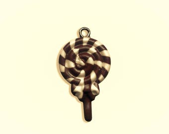 x 1 in Brown and white polymer clay lollipop charm