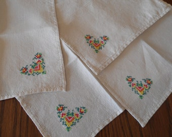 Hand Embroidery Linen Napkins - Set of Four