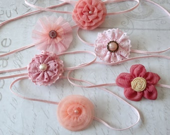 set 6 headbands, baby headbands, newborn headbands, baptism headband, flower headbands, vintage headbands, dainty headbands, pink headbands
