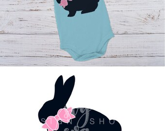 Easter Bunny svg, Girls svg, rabbit svg, Easter svg, SVG for Silhouette, DXF for Circuit, Bow svg, Silhouette svg,