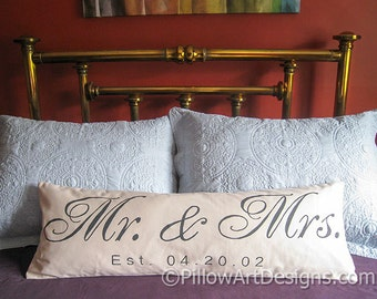 Personalized Lumbar Pillow Cover 12 X 36 Beige Black Mr and Mrs with Wedding Date Hand Painted Made in Canada