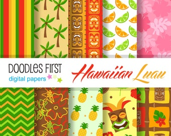 Hawaiian Luau Digital Paper Pack Includes 10 for Scrapbooking Paper Crafts