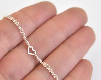 Heart Bracelet- Silver Heart Bracelet- Tiny Heart Bracelet- Sterling Silver Bracelet- Chain Bracelet- Heart Jewelry- Friendship Bracelet