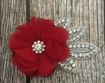 Red hair clip, wedding hair clip, floral hair clip, rhinestone hair clip, vintage hair clip, flower hair clip