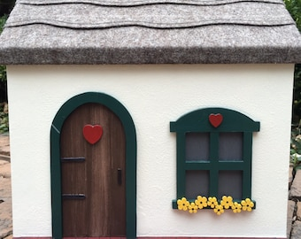Wooden Doll House Cottage, Wooden Peg Doll House, Handcrafted Painted Wooden Dollhouse (Red, Green, Yellow)