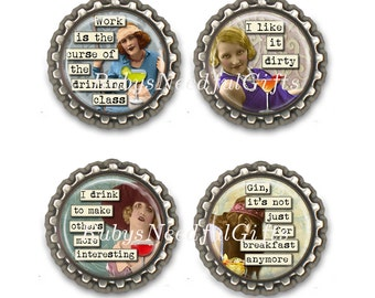 Alcohol Divas Bottle Cap Magnets, Bottlecap magnets, Set of 4.
