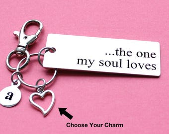 Personalized Love Key Chain The One My Soul Loves Stainless Steel Customized with Your Charm & Initial - K737