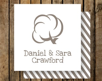 Personalized Calling Cards / Gift Tags / Cotton Boll