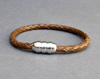 Braided, Mens Leather Bracelet Titanium Stainless Steel Mens Leather bracelet Cuff Gift For Men Customized On Your Wrist