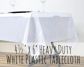 Heavy Duty Disposable Plastic White Tablecloth, White Banquet Tablecloth, Outdoor Dining, Banquet Table Setting, Rustic Wedding, Tea Party