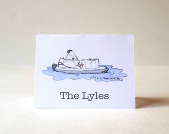 Pontoon Boat personalized notecards