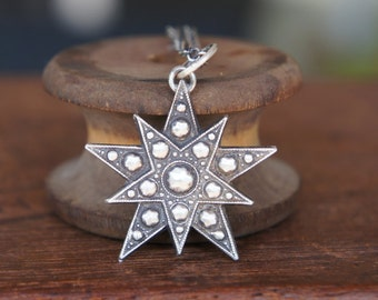 Antique Style Faceted Double Pentagram Star Silver Pendant Necklace