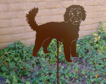 Labradoodle Garden Stake, Pet Memorial, Ornament, Steel Yard Art, Dog Breed Specific, Rustic