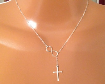 Infinity Cross necklace,Sterling Silver necklace, faith forever necklace meaningful, valentine gift, gift for her, Christmas gift