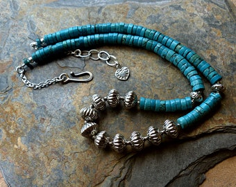 12 Handmade Ethnic Sterling Silver Beads & Turquoise Heishi Necklace. Bali Beads. Stamped Silver Beads. Spiky Heart Charm. Southwest Style