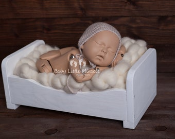 Ready to ship wooden bed, newborn props, handmade bed, photo prop, doll bed, vintage bed, maternity gift, white bed, newborn prop